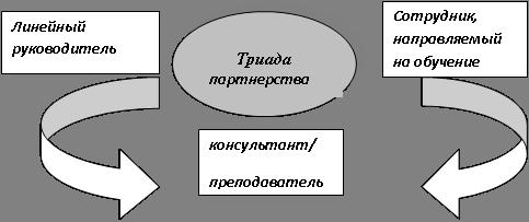 Составляющие триады партнерства при обучении сотрудников