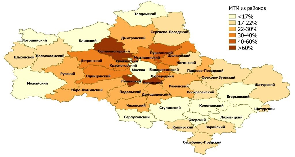 МТМ из районов Подмосковья в 2001 г.