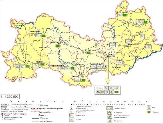 География спортивных сооружений Мордовии